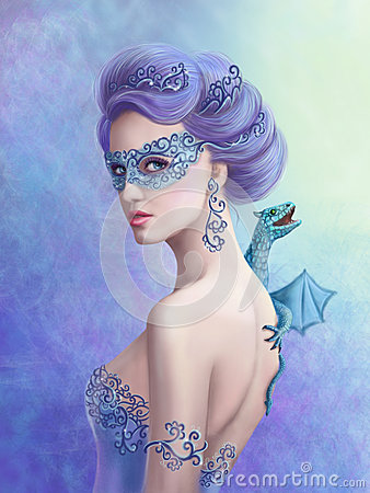 Fantasy Winter Woman Beautiful Snow Queen In Mask With
