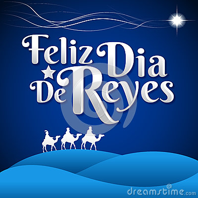Feliz Dia De Reyes Happy Day Of Kings Spanish Text Stock