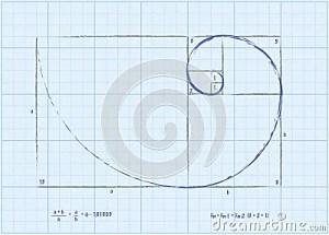 Fibonacci Sequence  Golden Spiral Sketch Stock Photo