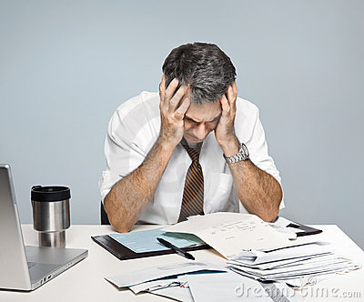Frustrated Man Worries About Economy Unpaid Bills