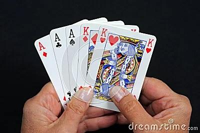 Full house poker hand.
