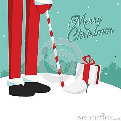 Funny Christmas Santa Golf Postcard Royalty Free Stock