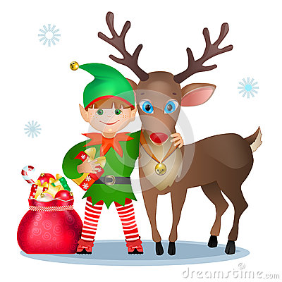 Funny Elf And Reindeer Royalty Free Stock Images Image