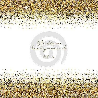 Golden Glitter Border Background Tinsel Shiny Backdrop Luxury Gold Template Vector Stock