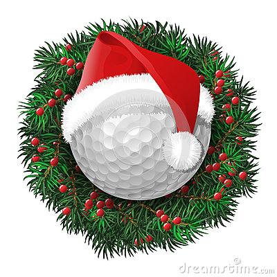 Golf Ball Over Evergreen Holiday Wreath Stock Vector
