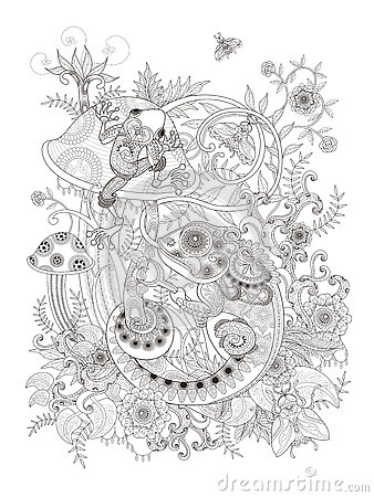Gorgeous Adult Coloring Page Stock Illustration Image