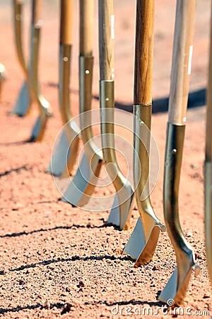 Groundbreaking Ceremony Shovels Royalty Free Stock