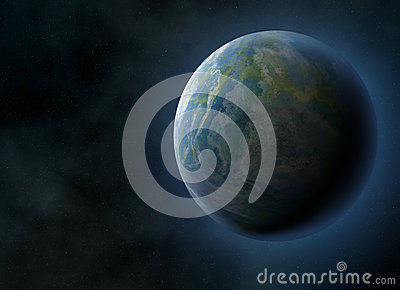 Halo Earth Planet On Cosmos Sky Backgrounds Stock ...