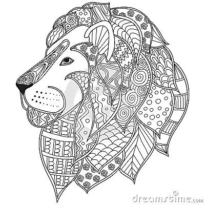 Hand Drawn Ornamental Outline Lion Head Illustration