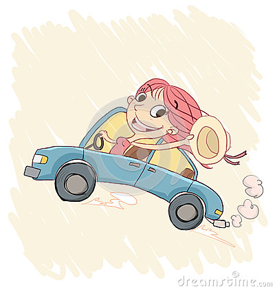Happy Girl Driving A Car Stock Vector Image 59403227