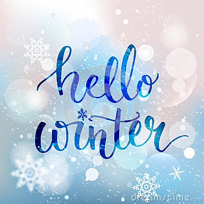 Hello Winter Text Brush Lettering At Blue Winter Stock