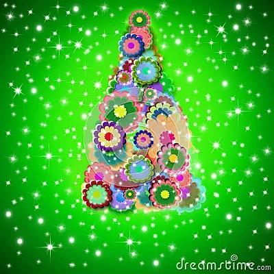 Hippie Christmas Tree Greeting Card Stock Image Image