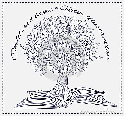 Knowledge Tree Growing Out Of A Book Stock Vector Image