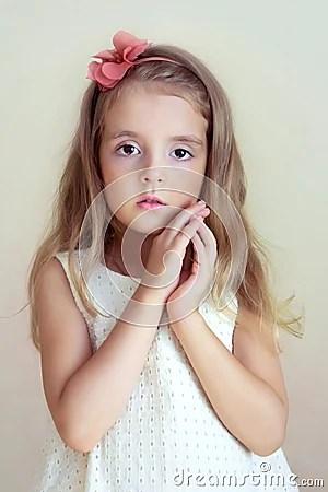 Little Girl's Portrait.Tender Serious Child, Fashion Model ...