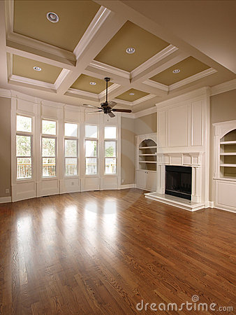 Luxury Home Interior Living Room With Windows Stock Photos