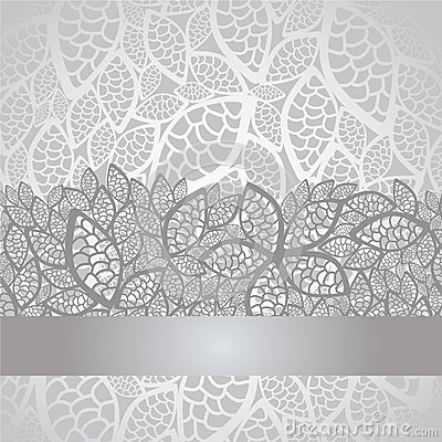 Luxury Silver Leaves Lace Border And Background Stock Photo Image 26688320
