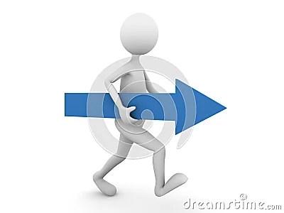 Man Walking Forward With Blue Arrow Royalty Free Stock