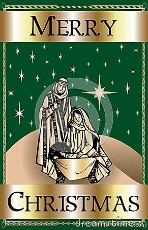 Merry Christmas Green Nativity Stock Image Image 16372421