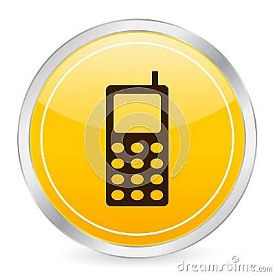 Mobile Phone Yellow Circle Ico Stock Photography Image