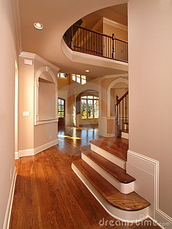 Model Luxury Home Interior Hallway With Stairs Stock