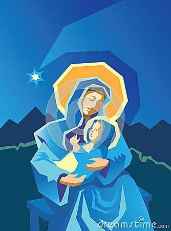 Nativity Mary And Baby Jesus Woodcut Stock Photo Image