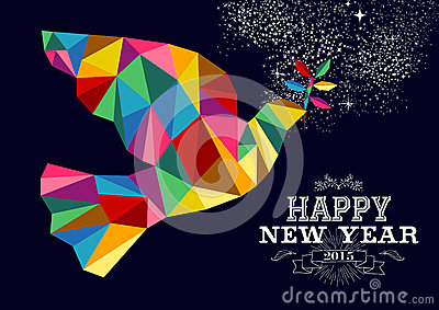 New Year 2015 Peace Dove Card Stock Vector Image 48077931