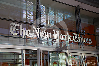 The New York Times entrance Editorial Photo