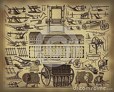 Old Farming Tools Stock Photo Image 14025210