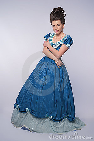 Old Fashioned Girl In Blue Dress Stock Photos Image