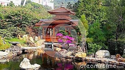 Pagoda Dans Le Jardin Chinois De Zen Clips Vidos Vido