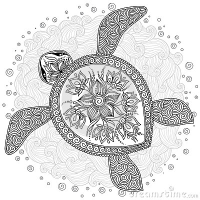 Pattern For Coloring Book Decorative Graphic Turtle