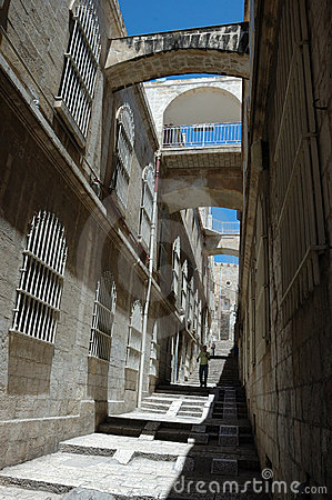 Pedestrian At Narrow Streets Of Old Jerusalem Editorial ...