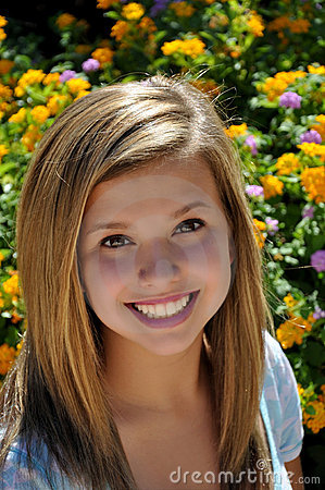 Pretty Teen Big Smile Next To Flower Garden Royalty Free ... on Small:zikqrscfop8= Teenage Girls  id=72129