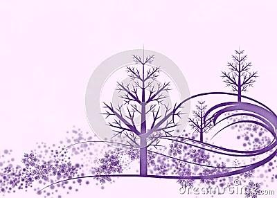 Purple Winter Scene On Pink Background Stock Photos