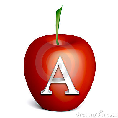 Red Apple With Alphabet A Stock Images Image 23082614