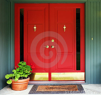 Red Double Door Entry Royalty Free Stock Images Image 21407579