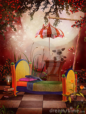 Red Fantasy Bedroom Royalty Free Stock Photos - Image ... on Small:gr1Vspvqs9Y= Bedroom Ideas  id=58889
