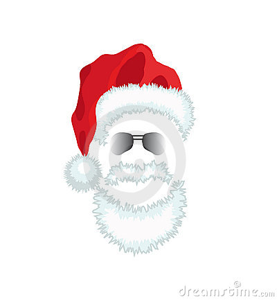 Red Santa Claus Hat Beard And Glasses Royalty Free Stock