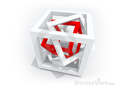 Red Wire-frame Cube Inside Of Two White Stock Images ...