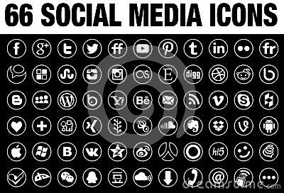 66 round social media outline icons
