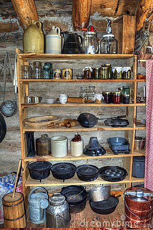 Rustic Old Time Log Cabin Pantry Stock Images Image