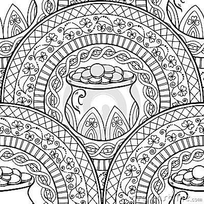 Saint Patricks Day Theme Mandala With Irish Pot Golden