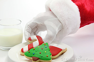Santa Claus Christmas Cookies And Milk Royalty Free Stock