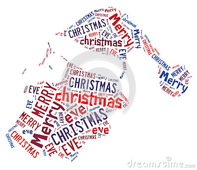 Santa Hat Word Shape Design With Text Royalty Free Stock