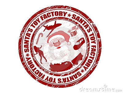 Santas Toy Factory Stamp Royalty Free Stock Photography