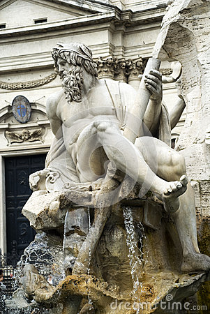 Sculpture in Piazza Navone, Rome, Italy