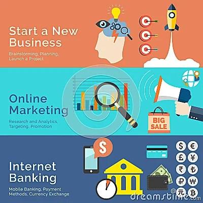 Set Of Flat Design Concepts. Start A New Business, Online ...