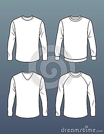 Set Of 4 Long Sleeve T Shirt Templates Stock Illustration Image 41445726