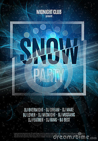 Snow Party Flyer Abstract Winter Poster Background