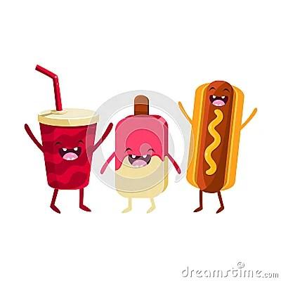 Soda Ice Cream And Hot Dog Cartoon Friends Stock Vector